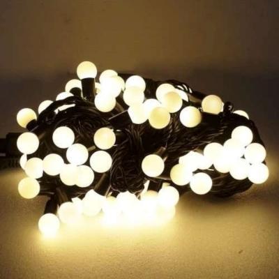 聖誕燈100燈LED圓球珍珠燈串(插電式/暖白光黑線/附控制器跳機)(高亮度又省電)