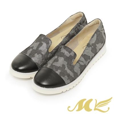 MK-台灣製真皮系列-乳牛紋亮面平底懶人休閒鞋-黑色