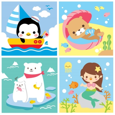 LOVIN 超萌韓版數字油畫海洋系列(01-04) 4幅 20X20