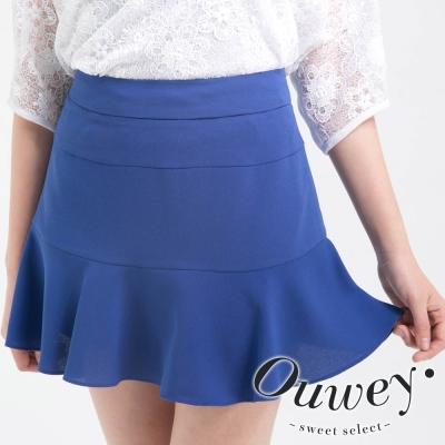 OUWEY歐薇-雪紡荷葉剪接褲裙