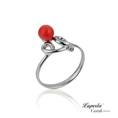 大東山珠寶 全紅珊瑚純銀戒指 榮華富貴