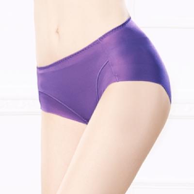 內褲 健康抑菌竹炭中腰M-XL無痕內褲 靛色紫 可蘭霓Clany