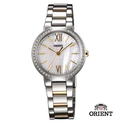 ORIENT 東方錶 DRESS系列 時尚晶亮珍珠貝女錶-珍珠貝x雙色版/32mm