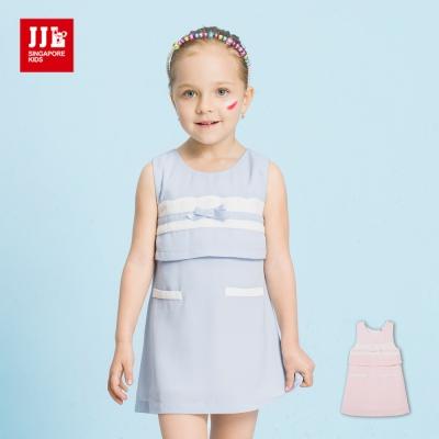 JJLKIDS 清新優雅蝴蝶結假兩件洋裝(2色)