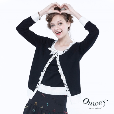 OUWEY歐薇-甜美蝴蝶結鑲邊假兩件針織-黑