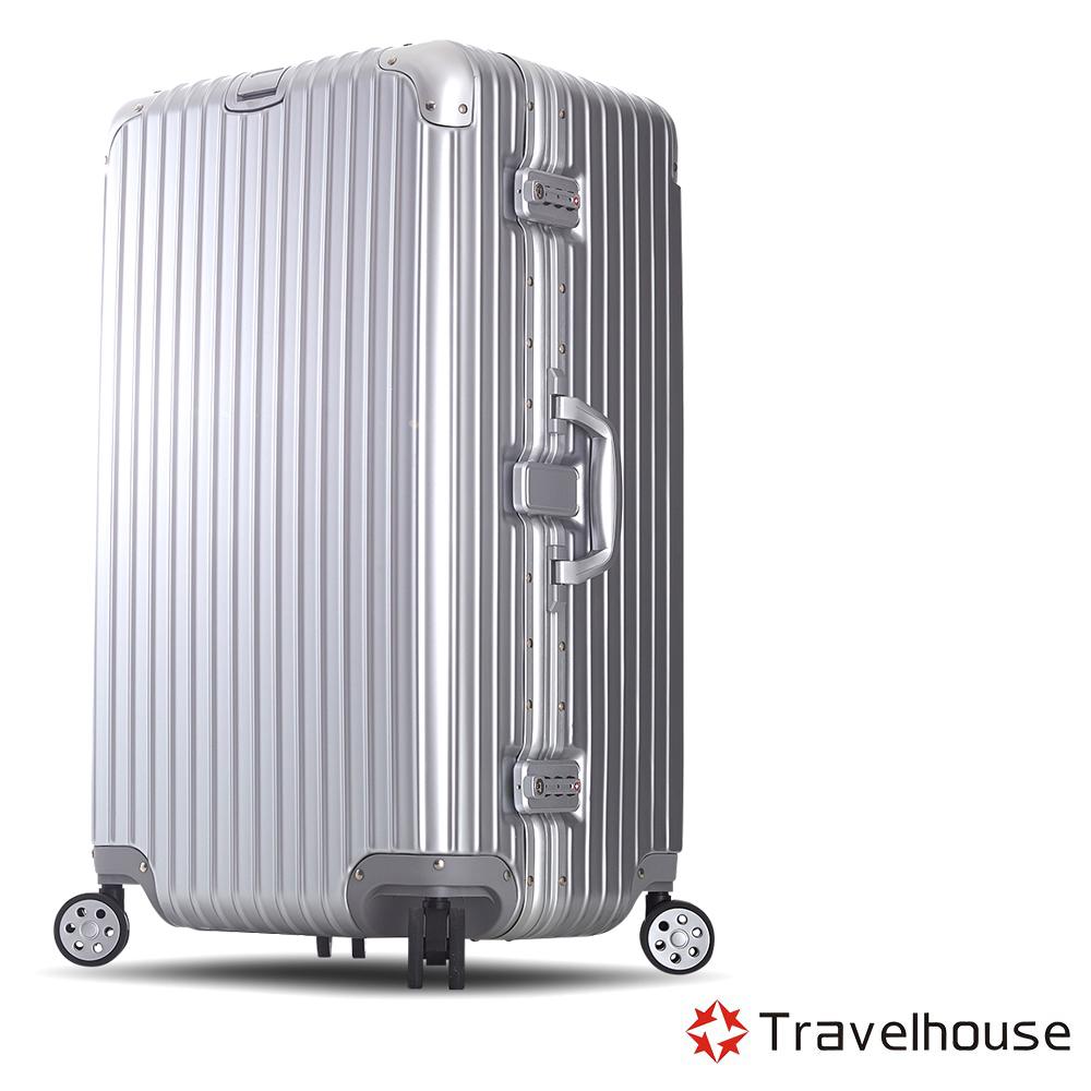 Travelhouse尊爵天際29吋PC運動款鋁框行李箱銀色
