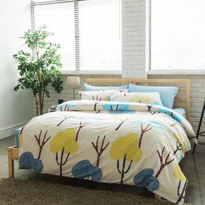 美夢元素 台製-天鵝絨-床包被套四件組-雙人(灌木)