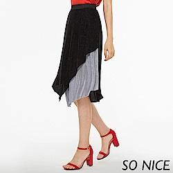 SO NICE俏麗撞色不規則壓褶長裙