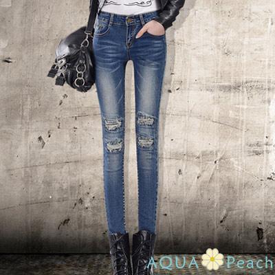 中腰仿舊破鬍洞設計牛仔褲 (深藍色)-AQUA Peach