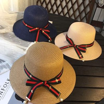 梨花HaNA 韓國紅綠條紋緞帶小蜜蜂經典草帽盆帽-速