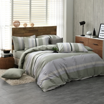 鴻宇HongYew 100%精梳棉 亞特森 綠 雙人特大四件式兩用被床包組