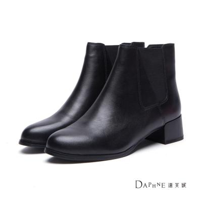 達芙妮DAPHNE-短靴-真皮斜拼接雀兒喜靴-黑