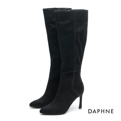 達芙妮DAPHNE 長靴-細繩編織絨面尖頭高跟長靴-黑
