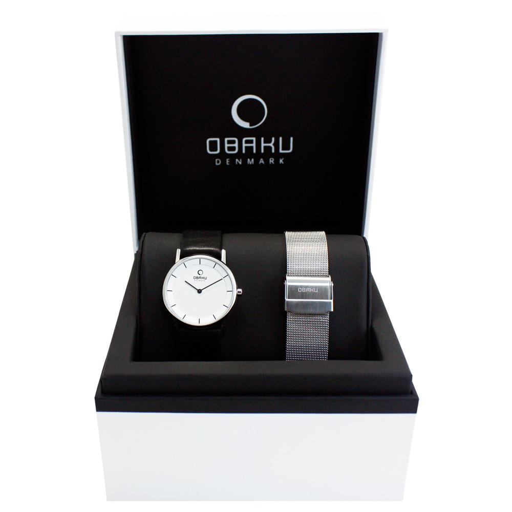 OBAKU 纖薄哲學二針時尚套錶組-銀框/黑帶32mm