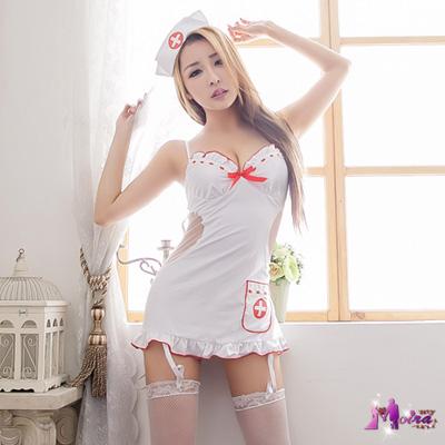 護士服 激情誘惑裸背五件式吊襪帶護士服(白F) Moira