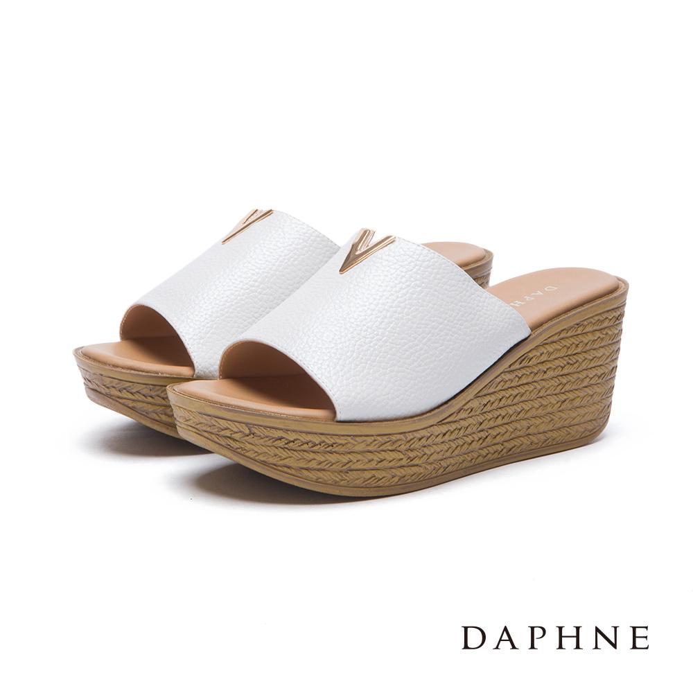 達芙妮DAPHNE涼鞋-V形釦繩紋楔型涼拖鞋-白8H