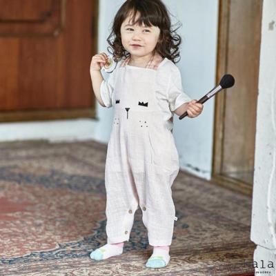 Lala韓國 粉紅色韓風雀斑眉毛小兔連身褲