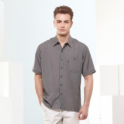 歐洲貴族oillio-短袖襯衫-盛夏必備千鳥格襯衫