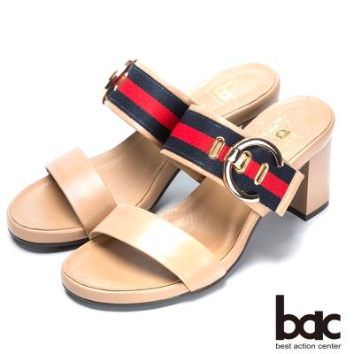 bac流行時尚 經典造型高跟涼鞋-卡其