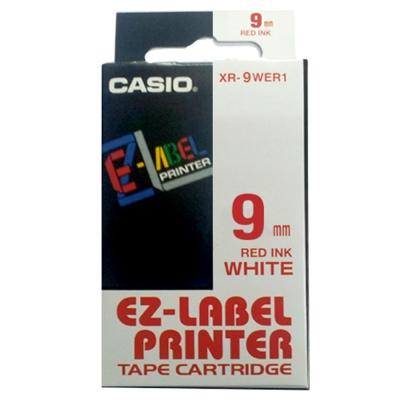 CASIO XR-9WER1白底紅字標籤帶9m/m×8M