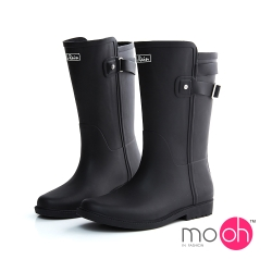 mo.oh 愛雨天-皮帶扣拚色中筒雨鞋雨靴-黑色