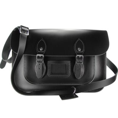 The Leather Satchel 英國手工牛皮劍橋包 肩背 側背包 火炭黑 14吋