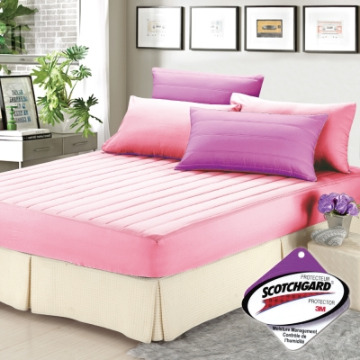 精靈工廠 愛戀Macaron馬卡龍3M吸濕排汗雙人三件式舖棉床包組-愛戀紫+甜心粉