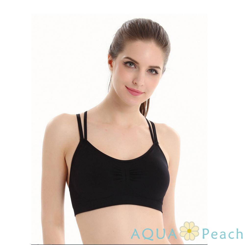 運動內衣 雙線交叉褶皺無鋼圈內衣 (黑色)-AQUA Peach