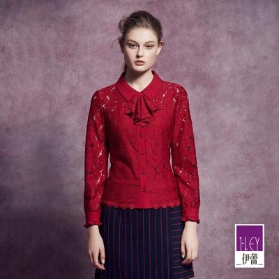 ILEY伊蕾 甜美蕾絲荷葉領巾上衣體驗價商品(紅)