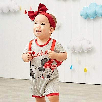 Disney baby 米奇系列 歡樂配色滾邊連身裝 麻花色