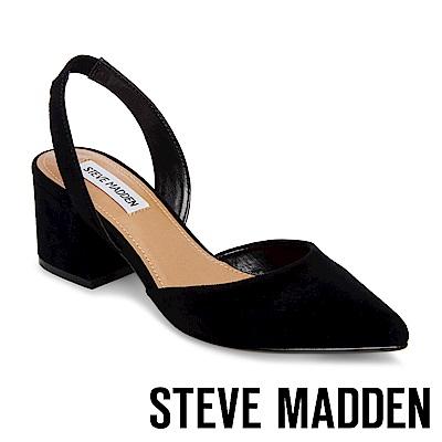 STEVE MADDEN-DAY  麂皮尖頭粗跟後帶涼鞋-黑色