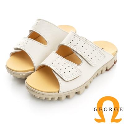 GEORGE 喬治-舒適系列 真皮雙帶魔鬼氈拖鞋(女)-白色