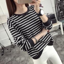 La Belleza韓系配色圓領橫條紋雙色橫條寬鬆長袖棉T