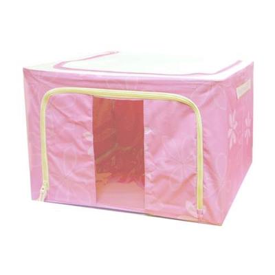 繽紛摺疊衣物收納箱(66公升) (粉)2入