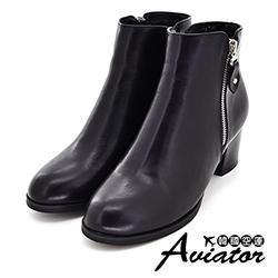 Aviator*韓國空運-個性優質皮革雙拉鍊造型微尖楦粗跟短靴-黑