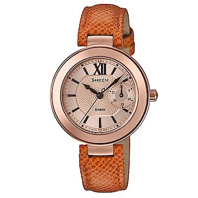 SHEEN羅馬數字高貴優雅棕色系風格皮帶腕錶(SHE-3051PGL-7A)35mm