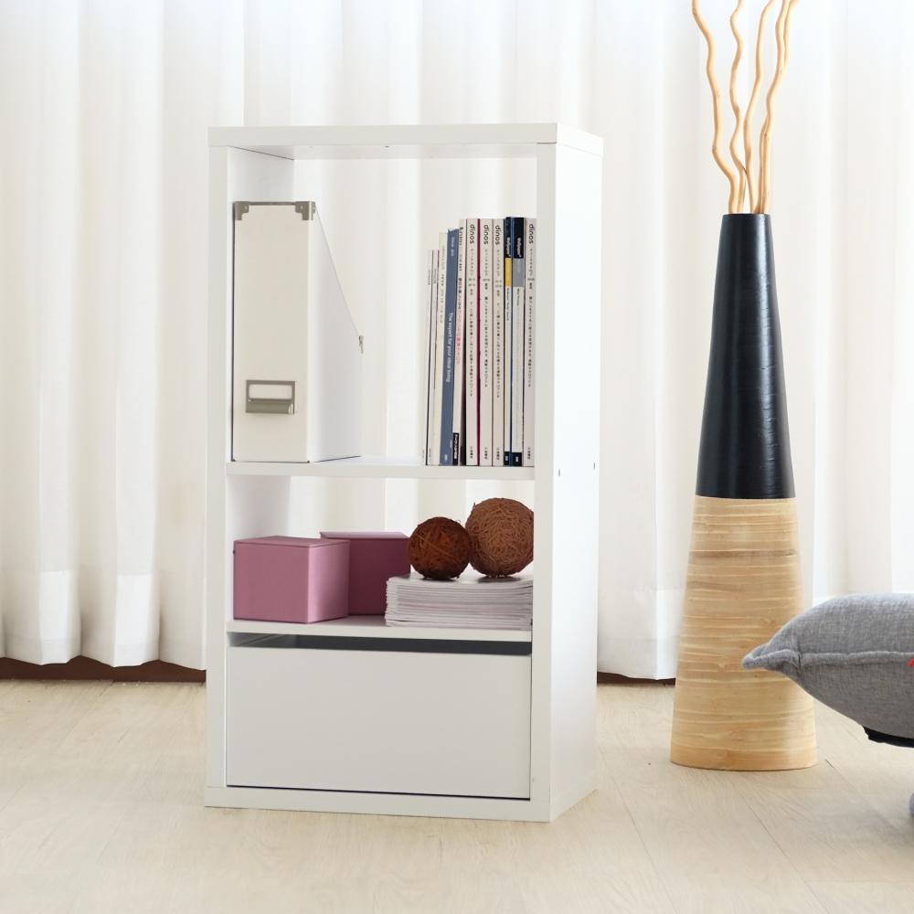 EASY HOME-加厚兩格收納櫃附抽屜+活動板-白色(43.4x29x83.1cm)