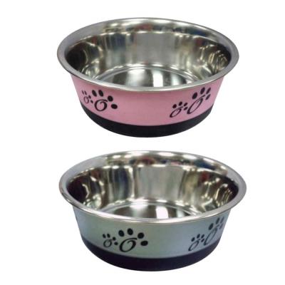 PettyMan寵物時尚防滑不鏽鋼食碗-腳印款 M號