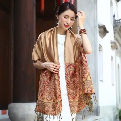Seoul-Show-曼荼羅-瓏月-棉質編織圍巾披肩-駝色
