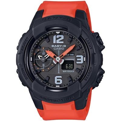 BABY-G 少女時代帥氣中性風腕錶(BGA-230-4B)-橘紅+黑/42.9mm