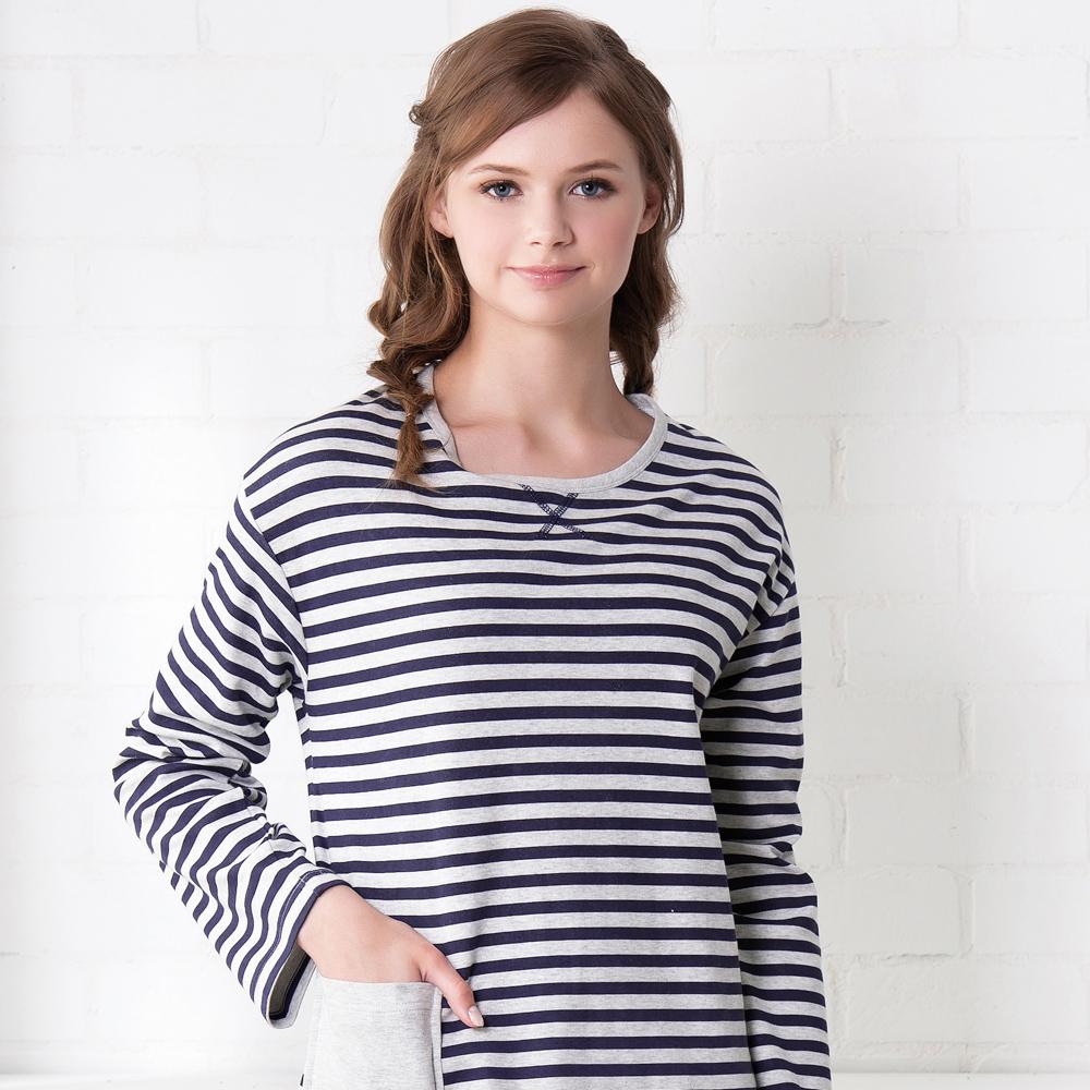 羅絲美睡衣 -條條有理長袖洋裝睡衣(藍條紋)