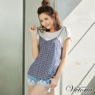 Victoria 天絲棉織帶繡花短褲-女-淺藍