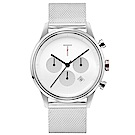 TYLOR 風尚米蘭帶三眼計時手錶-白X銀/43mm