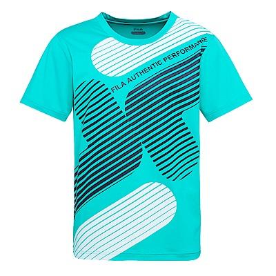 FILA 男抗UV吸濕排汗短袖T恤-藍綠1TES-1611-TG