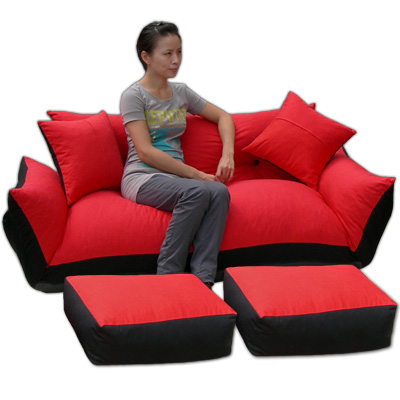 【沙發床天堂】紅豆沙發床-加大尺寸型(附腳凳)
