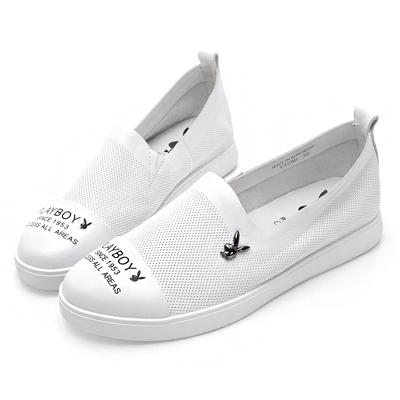 PLAYBOY時髦經典 百搭真皮休閒便鞋-白