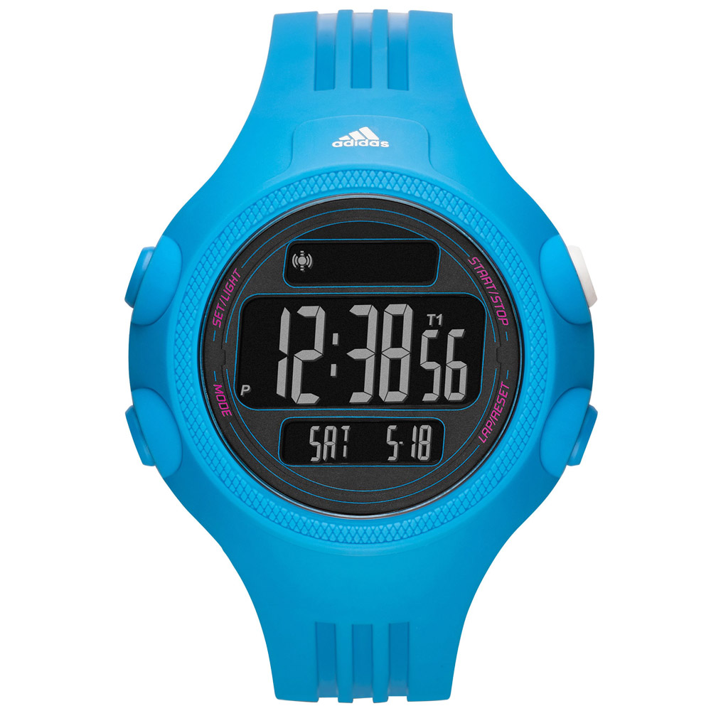 adidas勁戰狙擊大面板電子腕錶-藍53mm