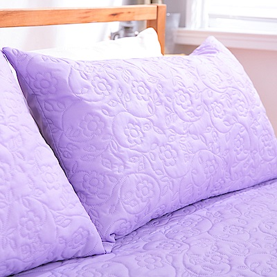 eyah宜雅 吸濕排汗大和防蹣抗菌雙效 信封式枕頭保潔墊2入(高貴紫)