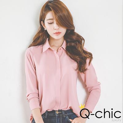 韓系簡約純色雪紡襯衫 (共九色)-Q-chic