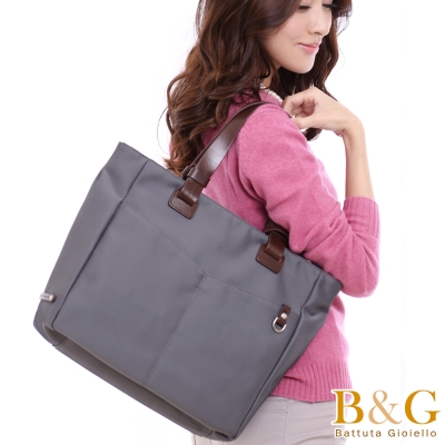 B&G雙口袋簡約氣質手提肩背包(光澤灰)